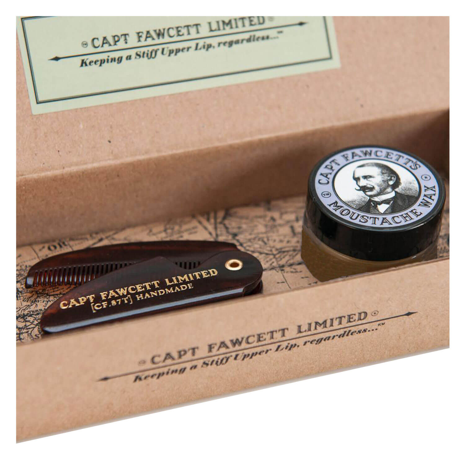 Capt. Fawcett Care - Lavender Moustache Wax & Folding Pocket Moustache Comb Kit