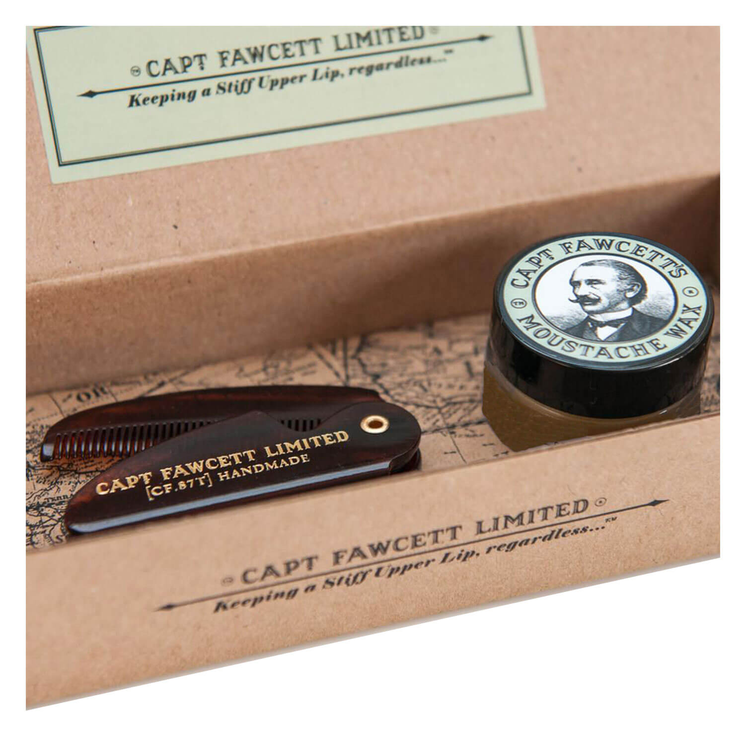 Capt. Fawcett Care - Ylang Ylang Moustache Wax & Folding Pocket Moustache Comb Kit