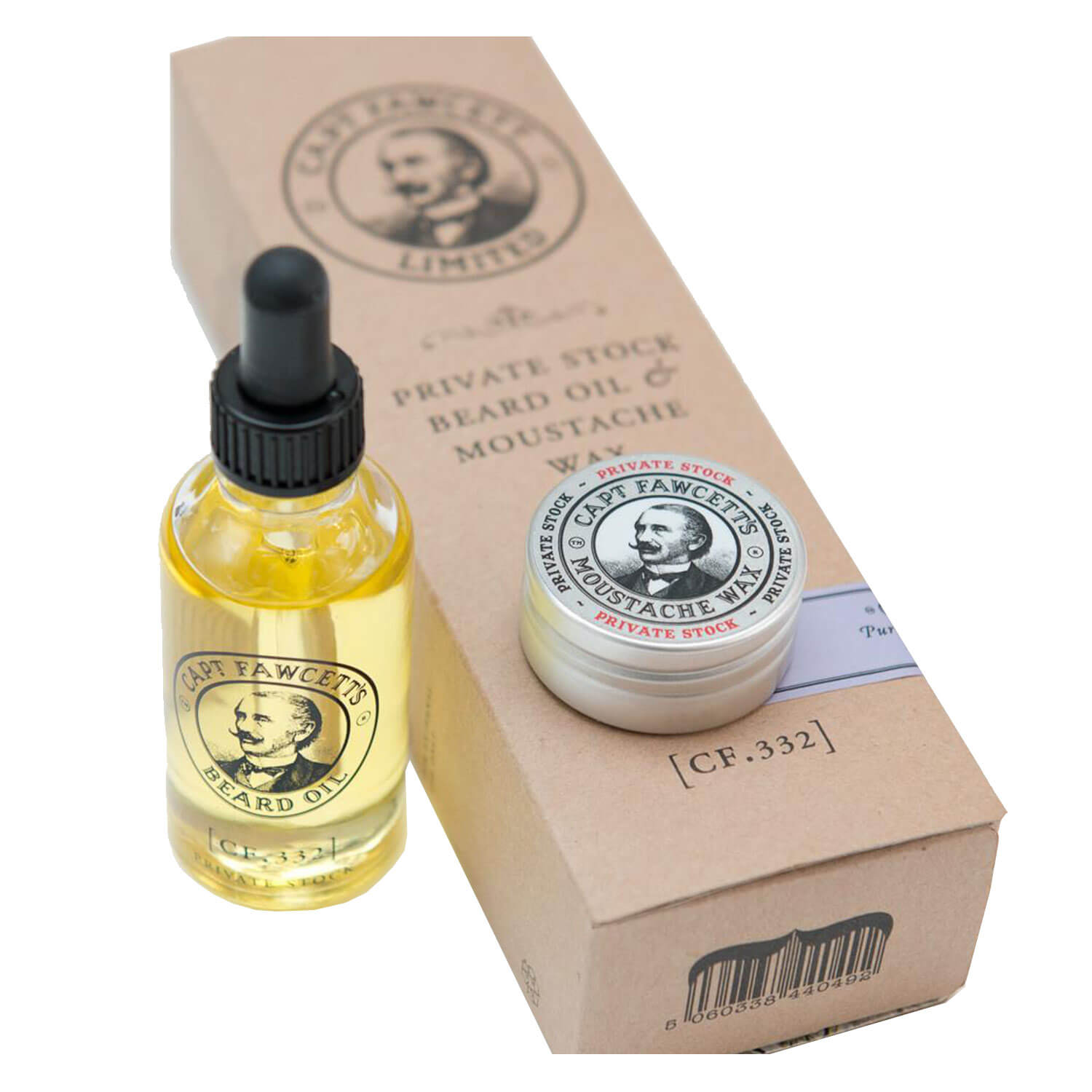 Capt. Fawcett Care - Private Stock Beard Oil & Moustache Wax Set