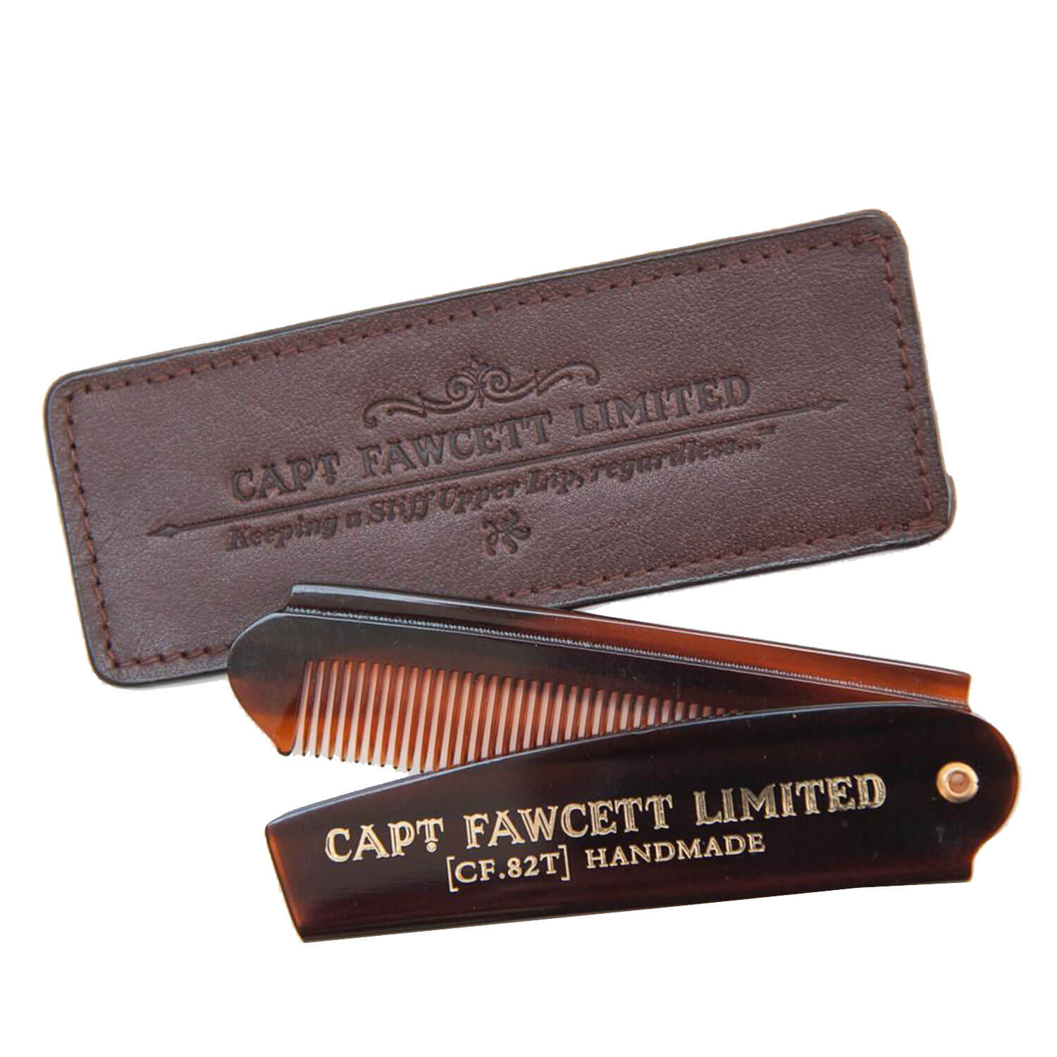 Capt. Fawcett Tools - Folding Pocket Beard Comb with Leather Case
