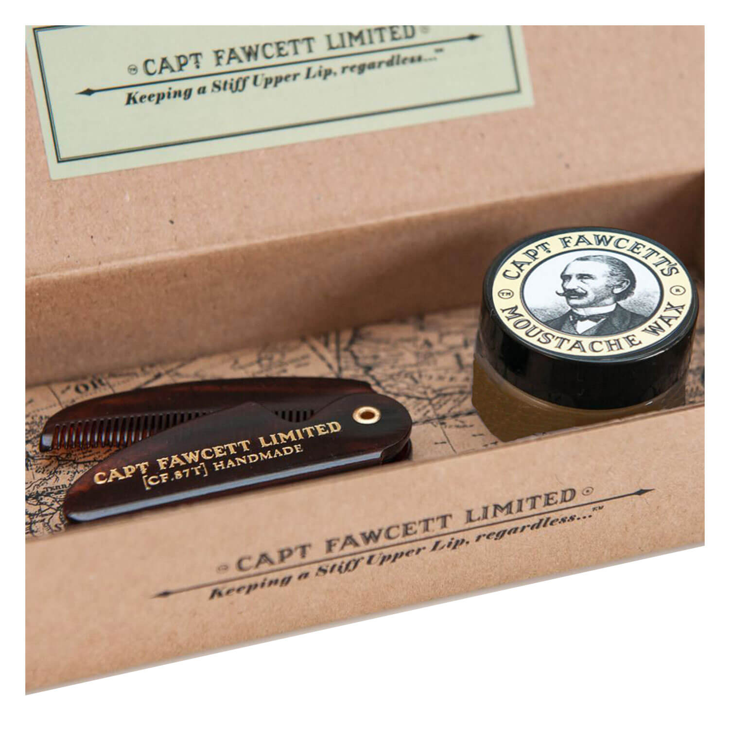Capt. Fawcett Care - Sandalwood Moustache Wax & Folding Pocket Moustache Comb Kit