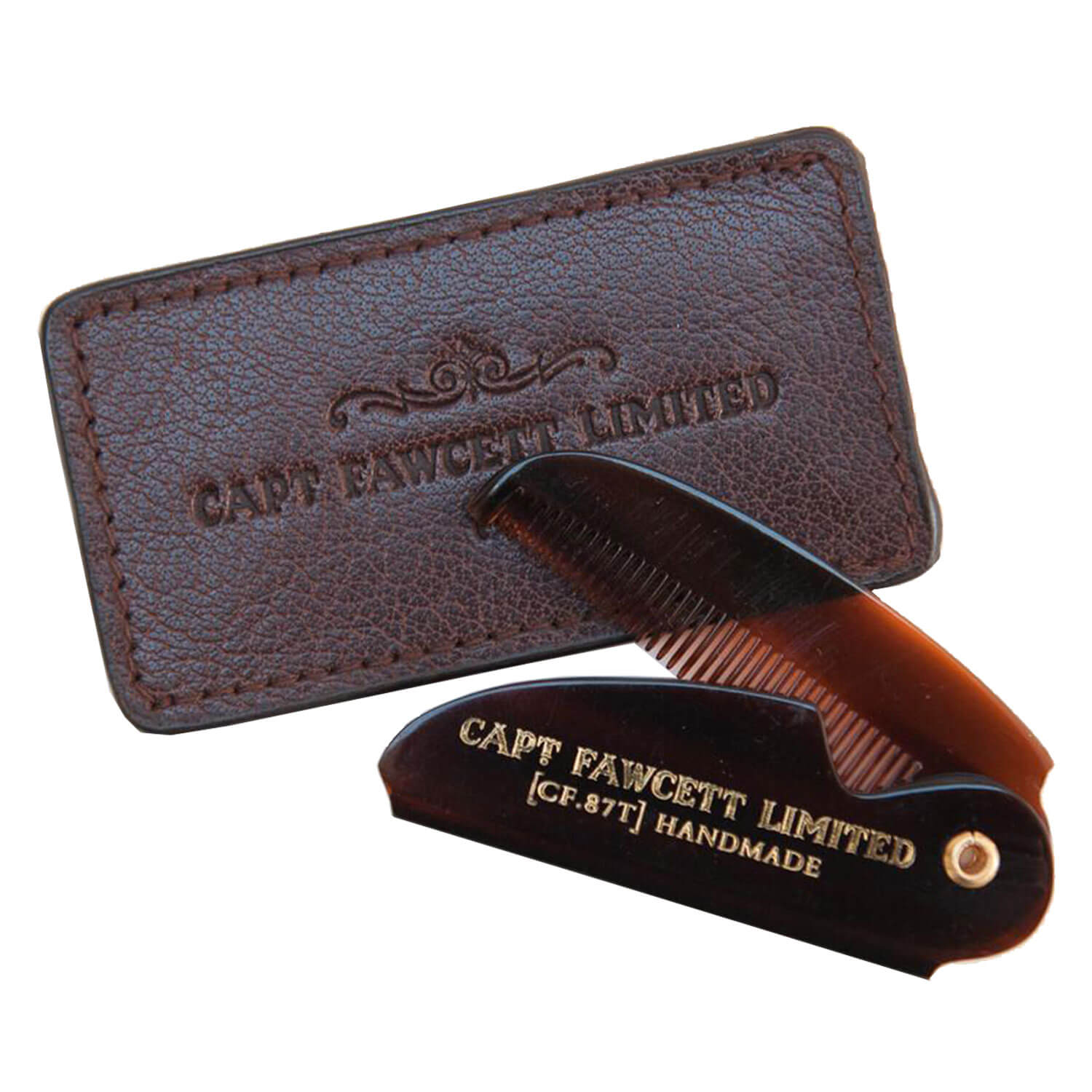 Capt. Fawcett Tools - Folding Pocket Moustache Comb with Leather Case